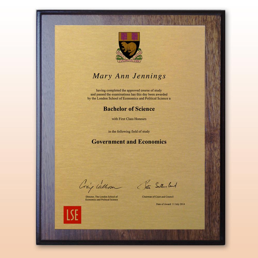 Graduation Plaque Surname Crest