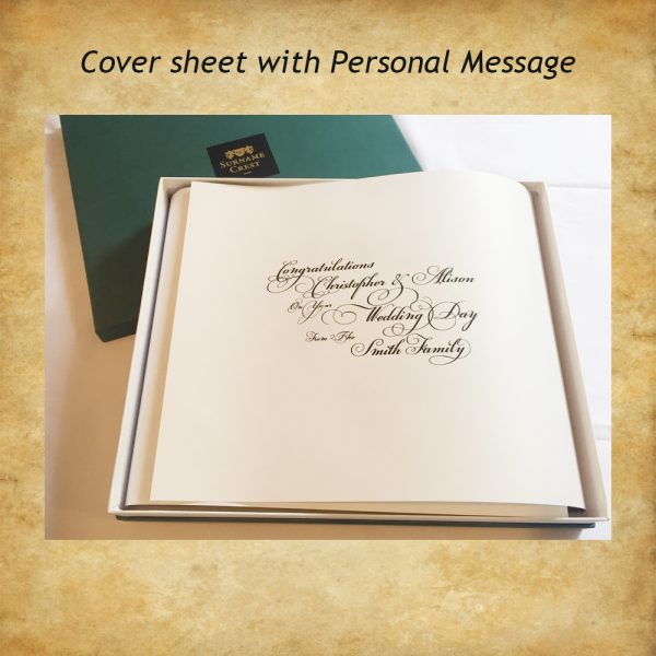 Personal greeting on Gift Box Coversheet