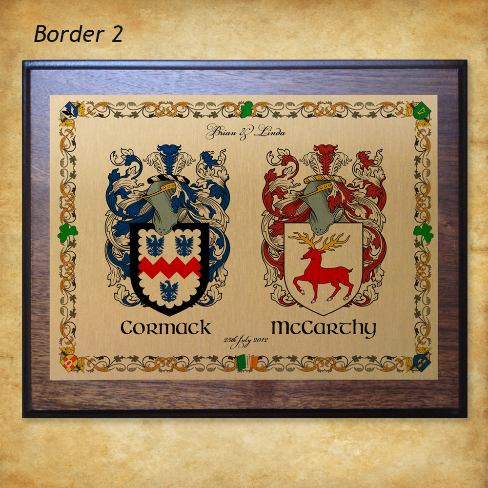 Wedding or Anniversary Gift - Double Crest Plaque - Surnamecrest