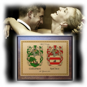 Celebrate a wedding or wedding anniversary with a two family crest gift plaque