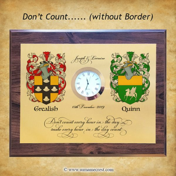 A Double crest clock with a fun quote. Great personalised gift for any home. Made in Ireland and delivered worldwide.