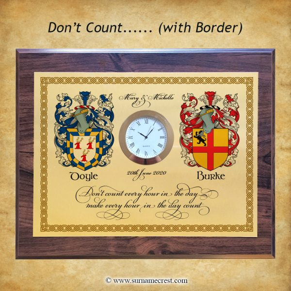 A gift for the family. Double coat of arms (Family Crest Gift clock). Custom made in Ireland and personalised for you.