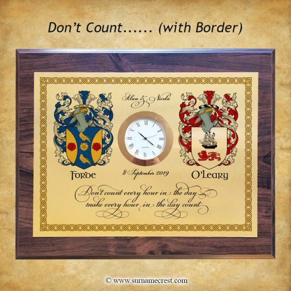 A celtic border inspired clock design. Personalised with names and date and two family coat of arms. Fantastic gift that fits well in any home decor.