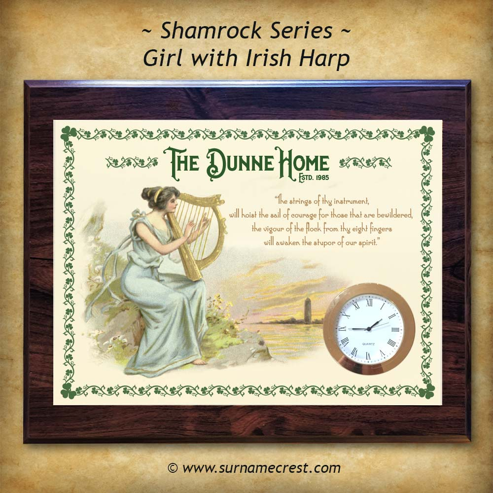 Gift For Househome Unique Clock Plaque With Old Irish Harp