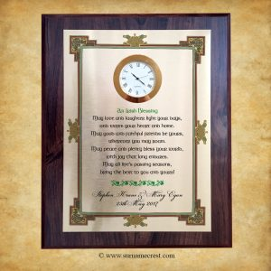 Irish Blessing Wedding Plaque with Book of Kells inspired Border
