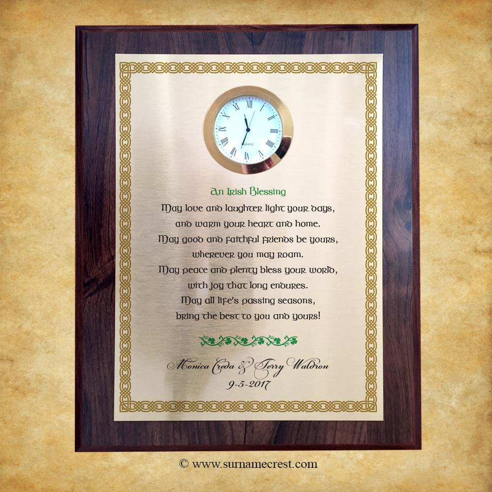 Irish Wedding Blessing Gift - Clock Plaque with Irish Blessing ...