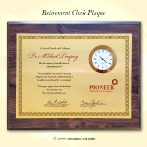 Landscape retirement clock plaque