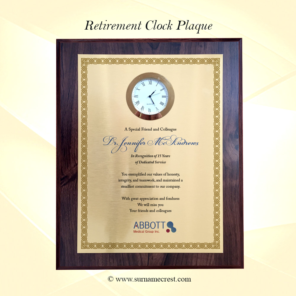 retirement plaque with clock insert add your own text. Black Bedroom Furniture Sets. Home Design Ideas