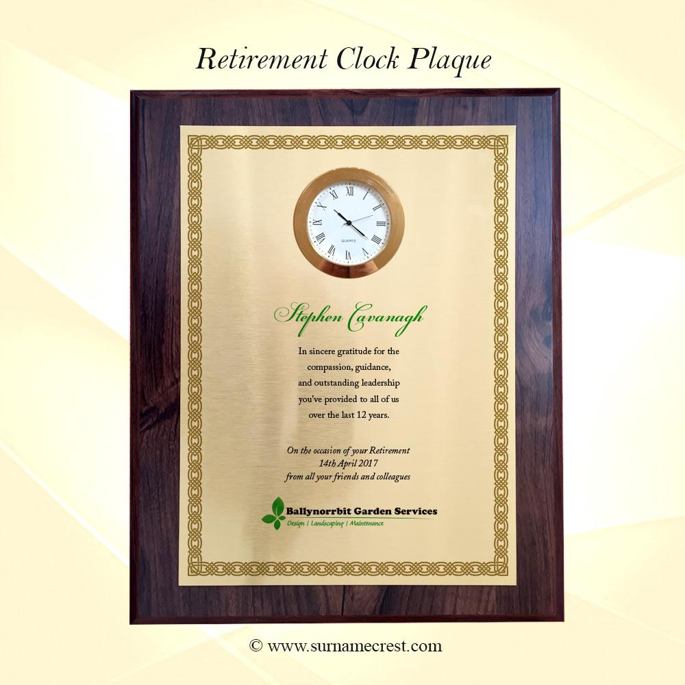 personalised clock plaque congratulations on retirement