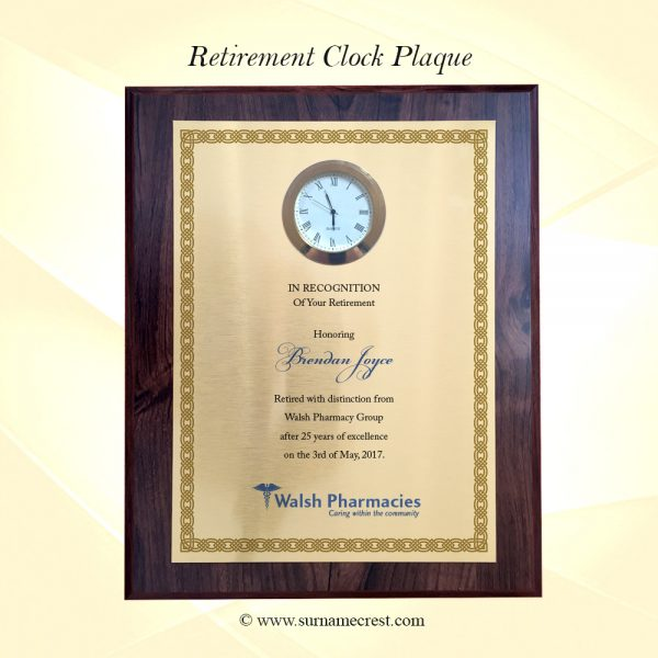 Retirement plaque with photo of Retiree