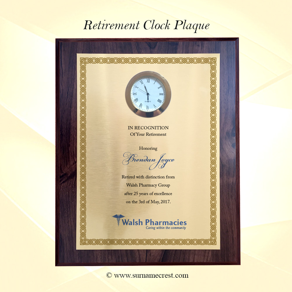 Retirement Plaque With Clock Insert Add Your Own Text