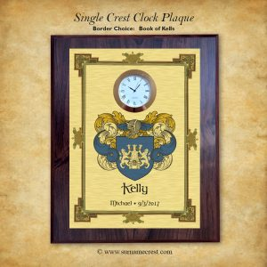 Family coat of arms clock plaque with Book of Kells Border