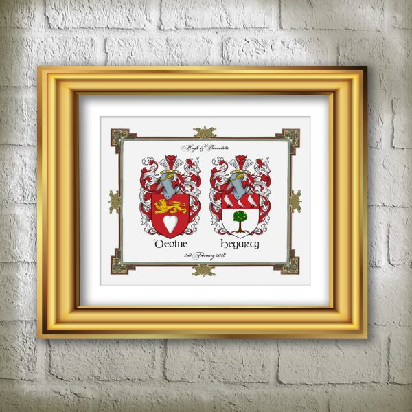 Celebrate a wedding or Anniversary with Double Family Crest Gift