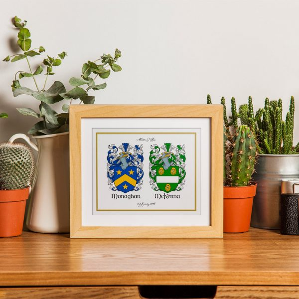 Two Family Crest Gift Print - Showing Framed