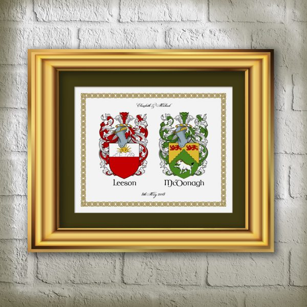 Surname Crests Printed on Parchment Paper
