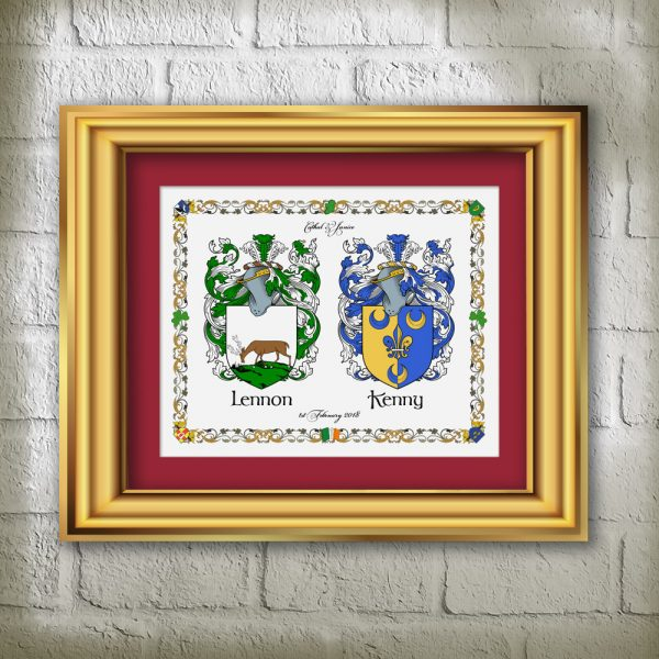 Maroon Matte Heraldic Prints of 2 Family Names