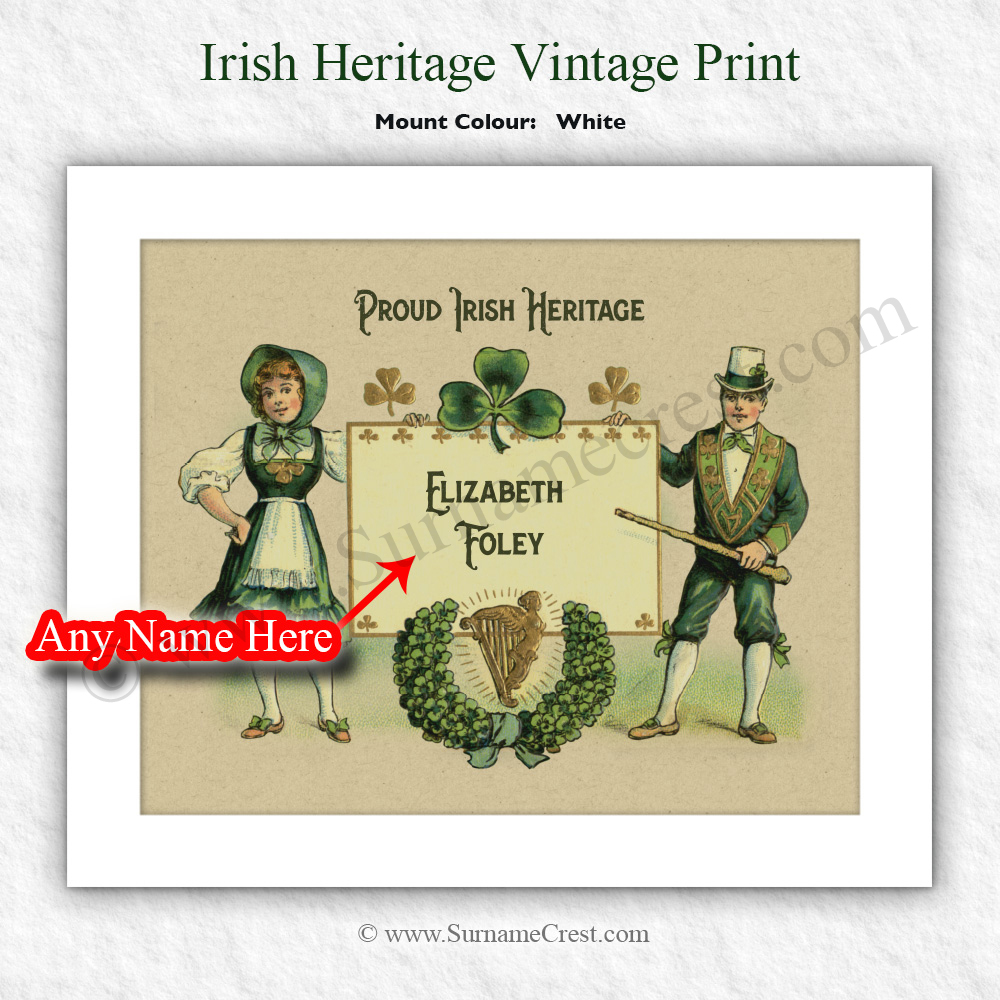 Personalised 10 X 8 Print Vintage Irish Characters With Banner