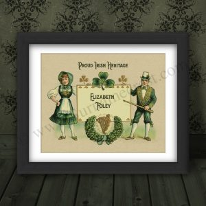 Framed vintage Irish gift - personalised with any name. Great Gift.