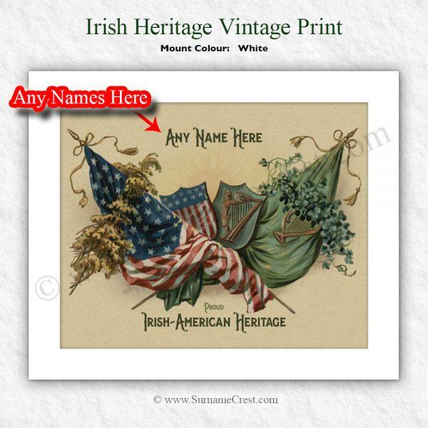 Personalised Irish Gift of Vintage Irish American heritage image. Personalised, and shipped worldwide.