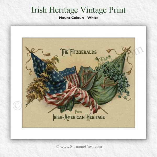 vintage 10 x 8 print personalised with a family name. Celebrate your Irish American heritage and Irish Roots.
