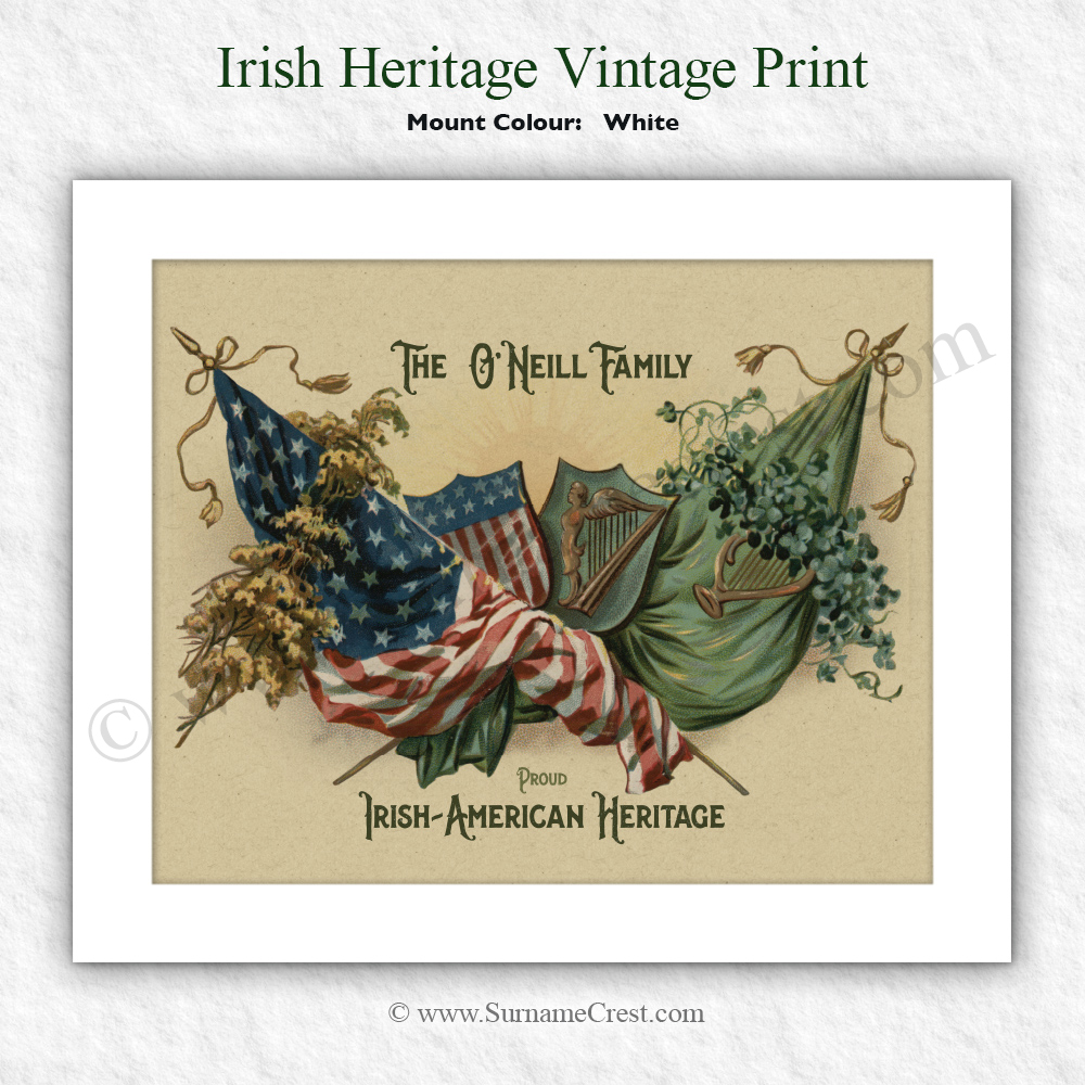 Irish Shamrock With American And Ireland Flags Personalised 10 X 8