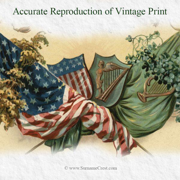 Detail of vintage print - proud Irish American heritage