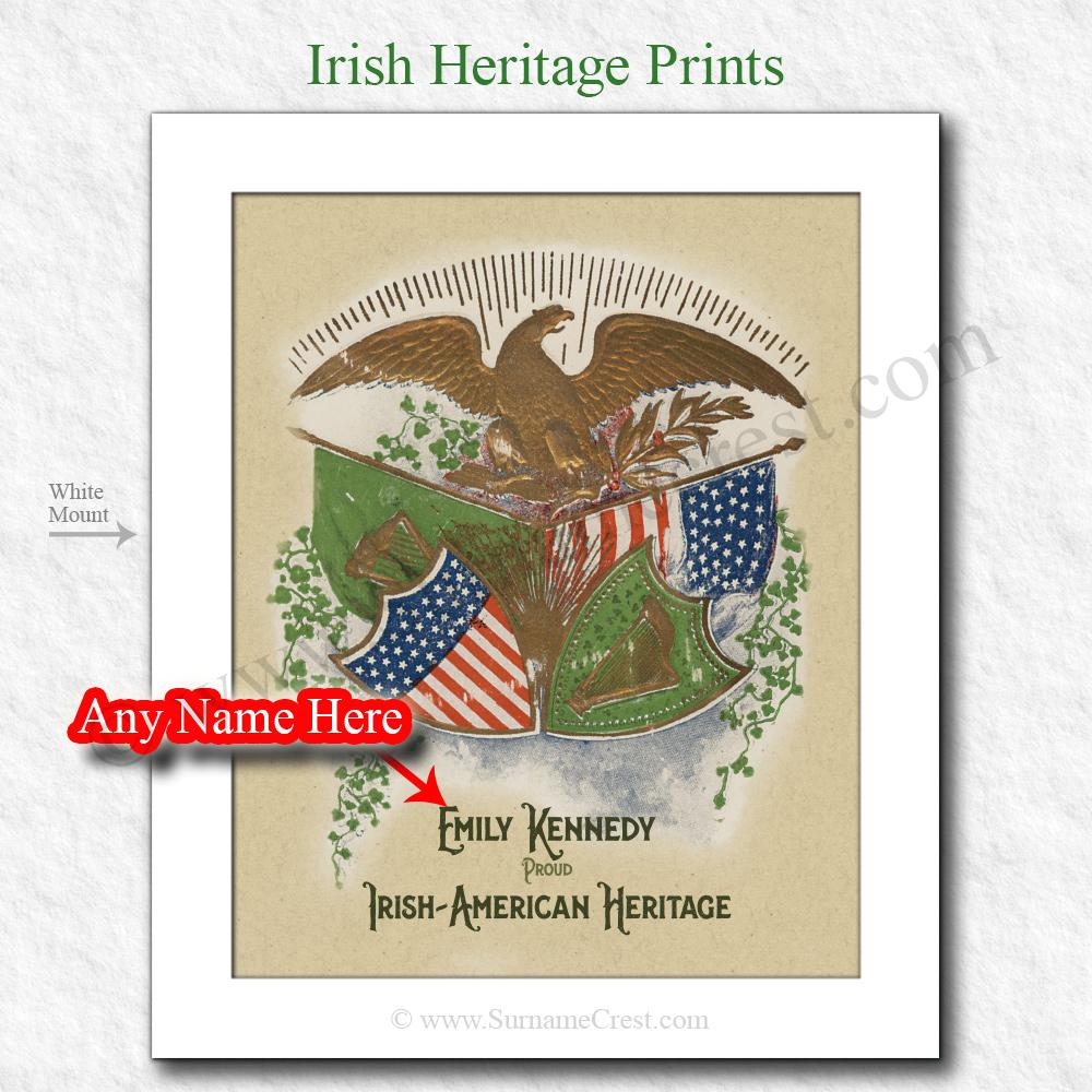 American Eagle Over Flags Irish American Personalised Heritage Print