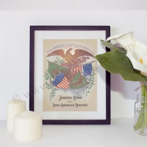Framed gift of Iraih and American flags under the American Eagle - protector of all. Personalised print.