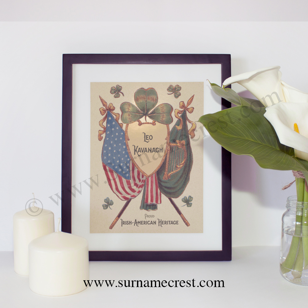 Irish Shamrock with American and Ireland Flags. Personalised 10 x 8 ...
