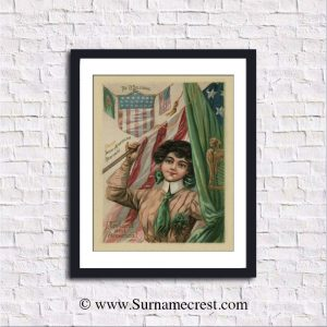 Waving the flag - personalized vintage Irish American Heritage Print.