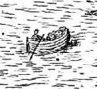 Small Boat Fishing scene from 17th century Galway City Map Ireland