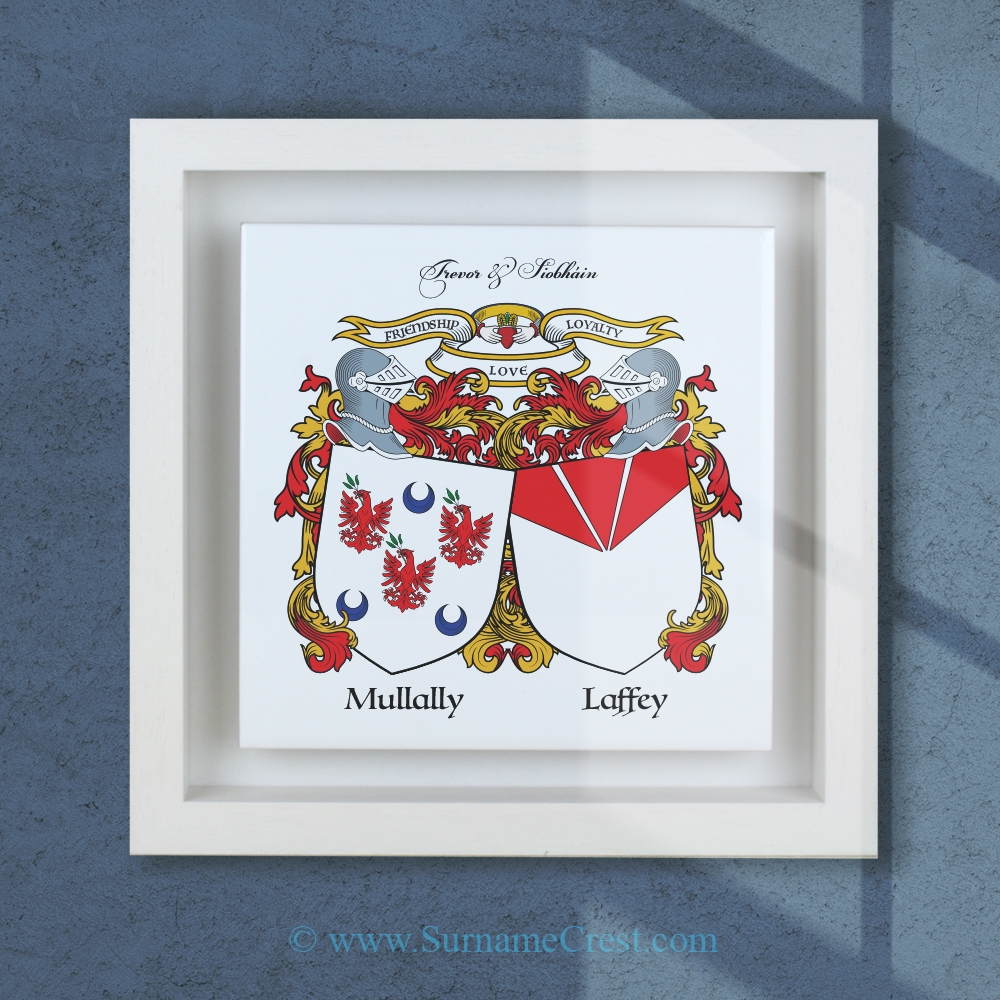 Double family coat-of-arms on a square ceramic tile framed in a real wood box-frame. Handmade in Ireland.