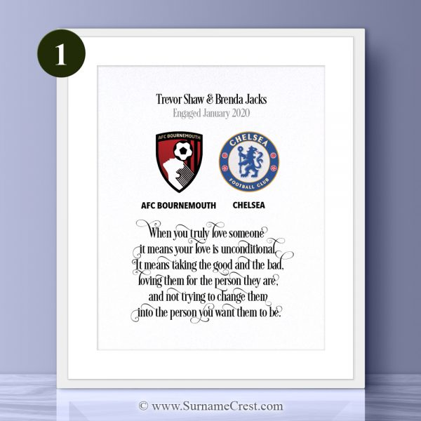 An English Premier League gift for a premiership couple.... Well designed personalised print with the words: When you truly love someone it means your love is unconditional. It means taking the good and the bad, loving them for the person they are, and not trying to change them into the person you want them to be.