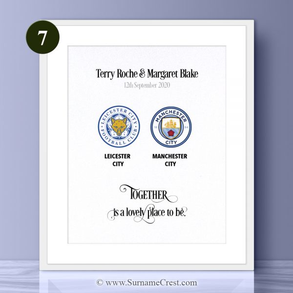 Ideal for any home - this personalised soccer gift looks great hanging on any wall. Personalised with the quote: Together is a lovely place to be.