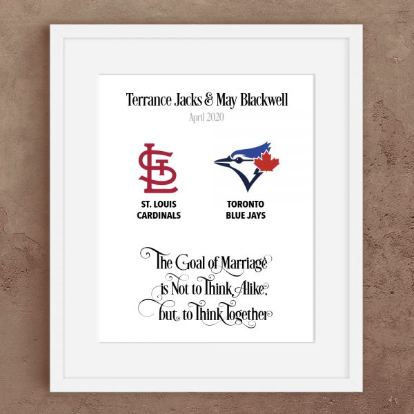 Major League Baseball personalised prints for a happy couple. Beautifully designed and made. Fast turnaround and worldwide delivery. Either a digital file or Physical Print.
