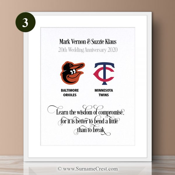 Compromise is great thing in marriage. This beautifull made print is ideal for a happy couple, especially Baseball Fans. Learn the wisdom of compromise, for it is better to bend a little than to break.