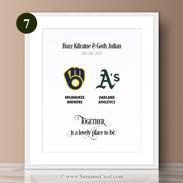 Together is a lovely place to be. This is a beautiful gift for a baseball couple you know. Fun yet meaningful.