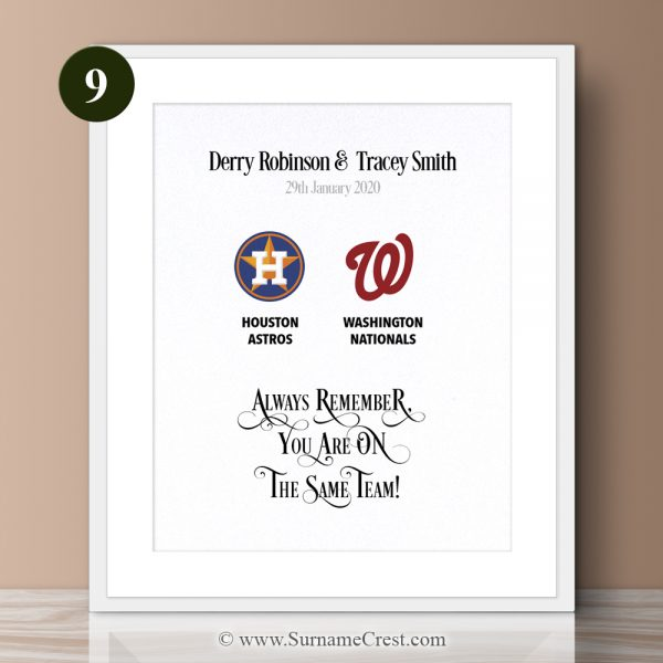 Major League Baseball Personalized gift for a couple. Great for Birthdays, Engagement, Wedding, Weddin Anniversary gift. Always remember, You are on The Same Team!