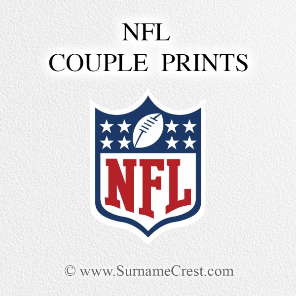 NFL National Football League Gift for Football Fans Couple. Personalized with names and date. Print at home or printed for you.