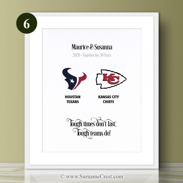 We learn a lot fro sport, and this personalised NFL print reminds us of this. Tough times don't last. Tough teams do!