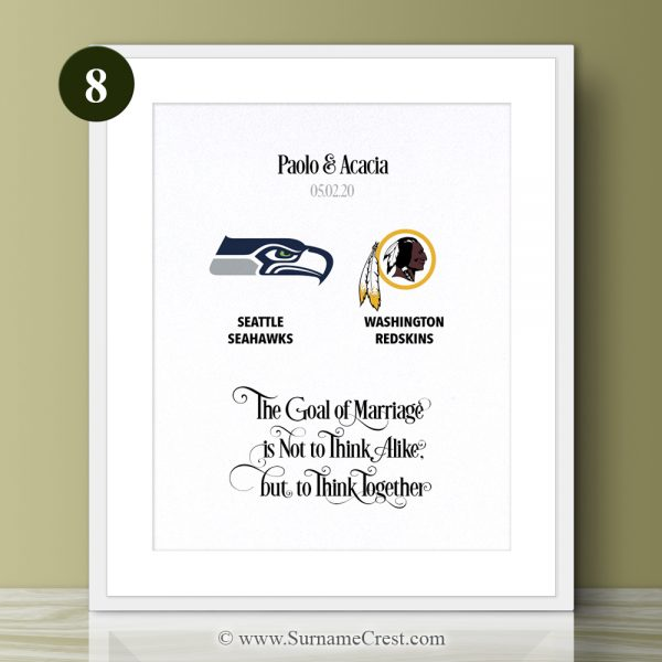 A fun yet meaningful and thoughtfull gift for NFL couple. Personalised gift - The Goal of Marriage is Not to Think Alike, but to Think Together
