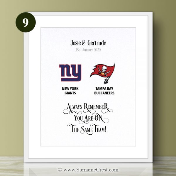 American Football themed print for a happy couple for any occasion. Looks great in any home. Always remember, You are on The Same Team!