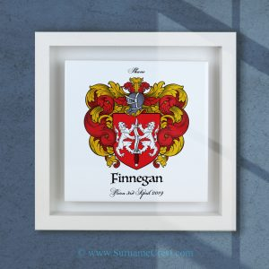 Single family crest on Italian made square ceramic tile in a real wood deep box frame. Handmade in Ireland.