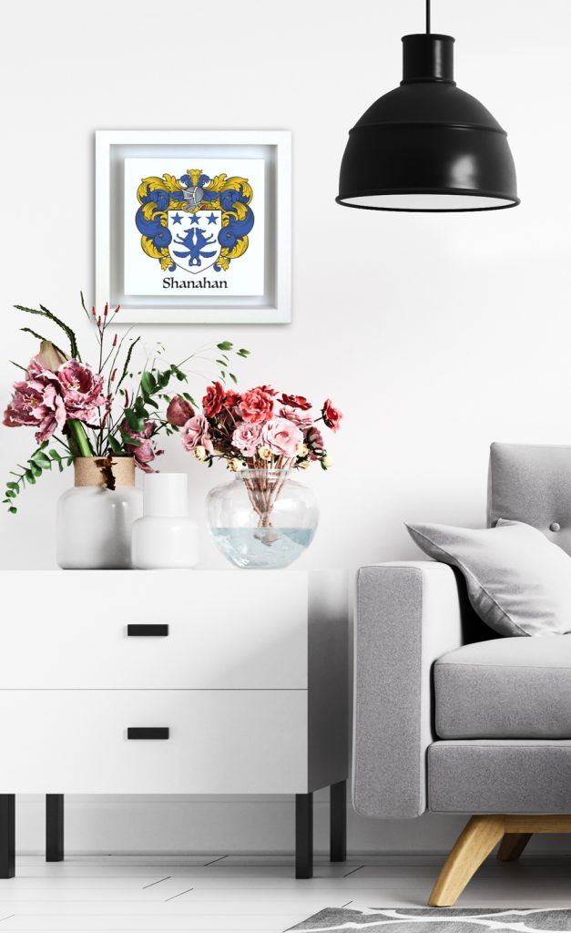 Single family crest (coat-of-Arms) on an Italian made ceramic framed in an Irish made real-wood box-frame. A very modern design of a traditional gift. Suits any modern house decor.