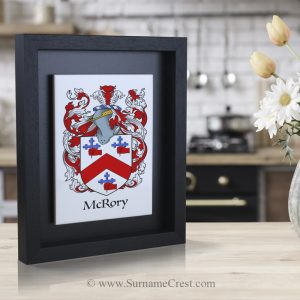 Single family coat of arms on an Italian made Ceramic Tile and surrounded in a handmade wooden Frame.