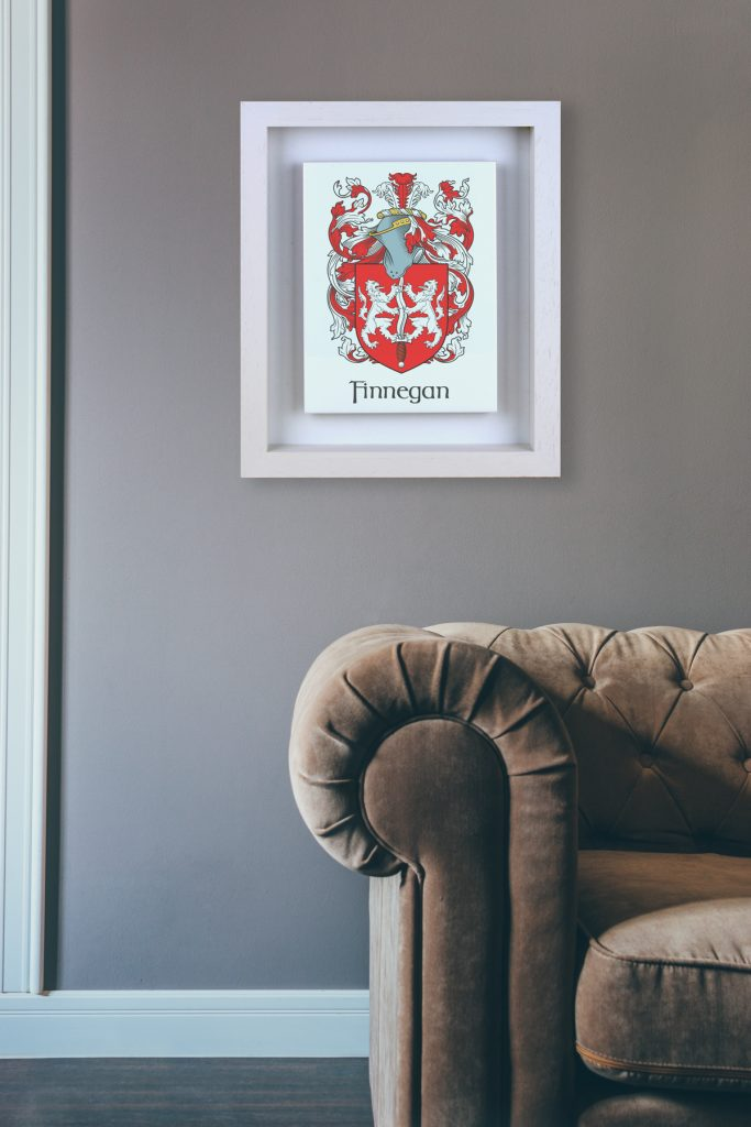 Single Family Crest tiled artwork in handmade real wood frame. A great gift for any home.