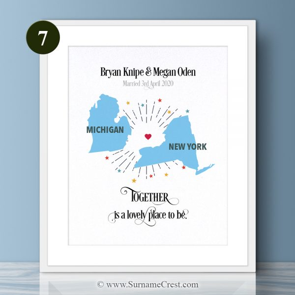 You may come from different places, but you'll always be together. Beautiful print for any home. Together is a lovely place to be.