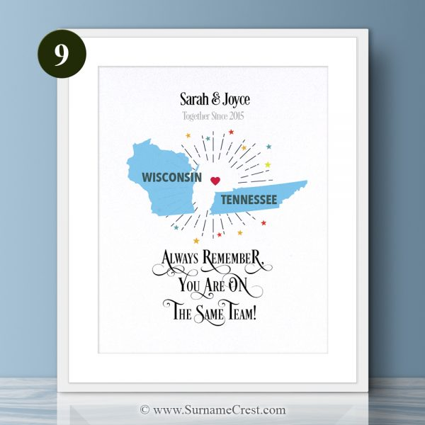 United States of American States Print for a happy couple. Great personalised gift. Always remember, You are on The Same Team!