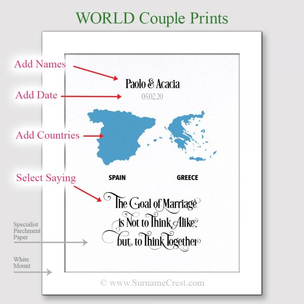 A Personalised world print with inspiring quotes for a couple from different countries. A well designed Gift print for a lovely couple. Ideal for any occasion from New home, Birthday, wedding etc... When you truly love someone it means your love is unconditional. It means taking the good and the bad, loving them for the person they are, and not trying to change them into the person you want them to be.