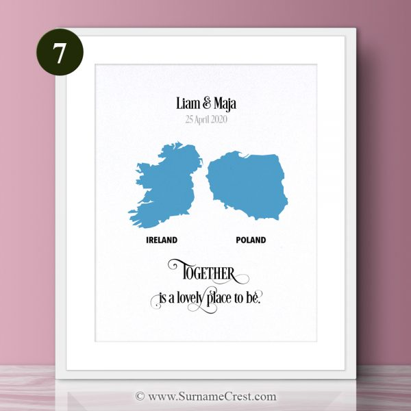 Together is a lovely place to be. A beautifully designed personalised gift for a couple. Ideal Engagement, New Home, Wedding, Anniversary Gift.